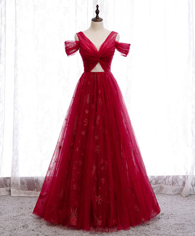 Burgundy long off shoulder prom dress long evening dress