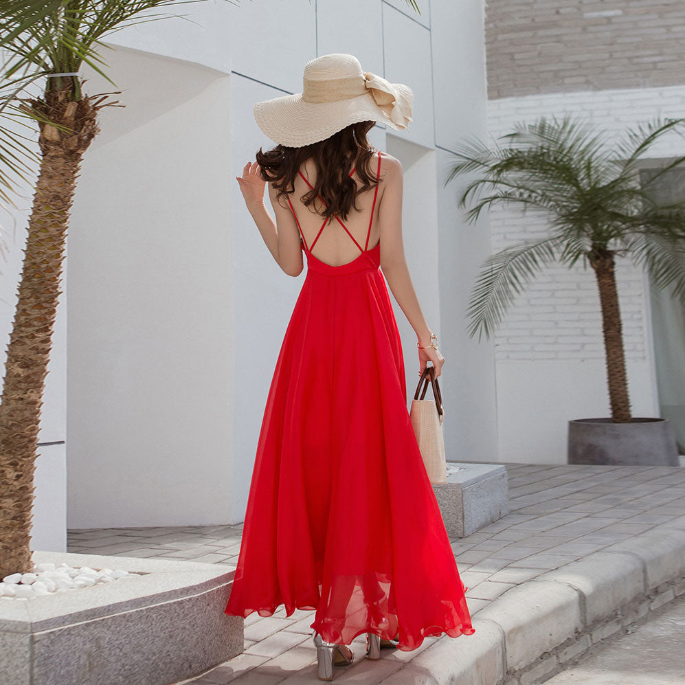 Simple red chiffon backless long dress, evening dress