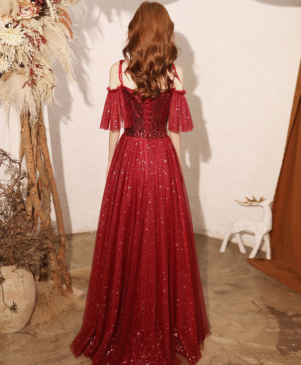 Burgundy sweetheart tulle sequin long prom dress burgundy formal dress