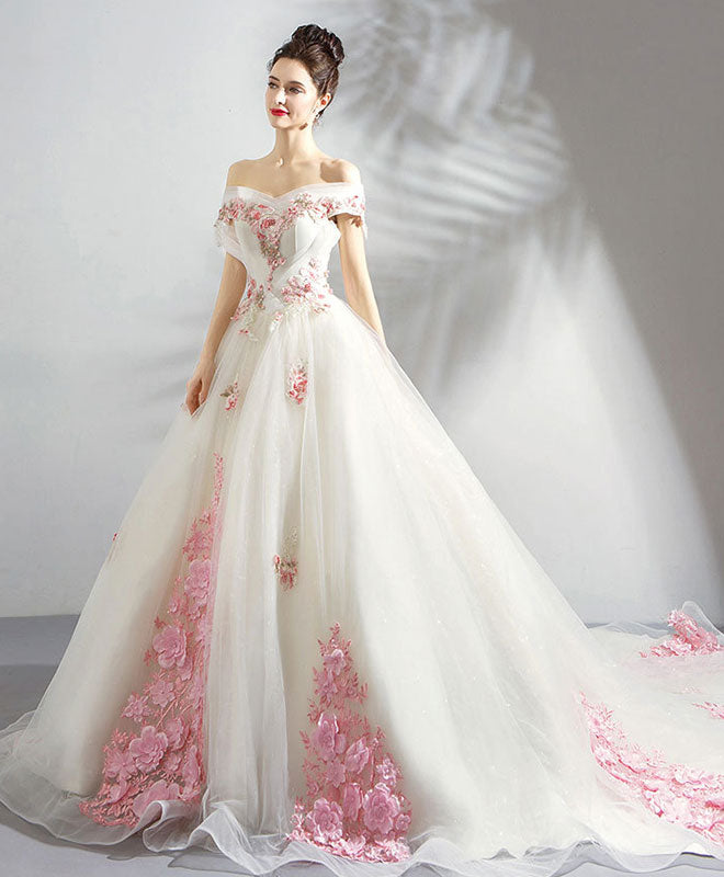 Unique white lace tulle long prom dress, tulle evening dress