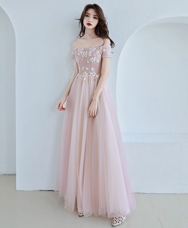 Pink tulle lace long prom dress, pink bridesmaid dress