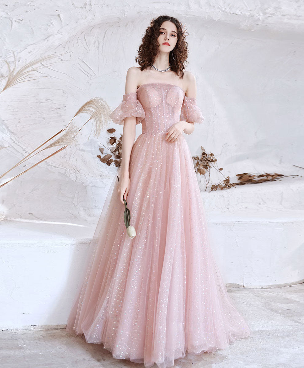 Pink tulle sequin long prom dress pink tulle formal dress