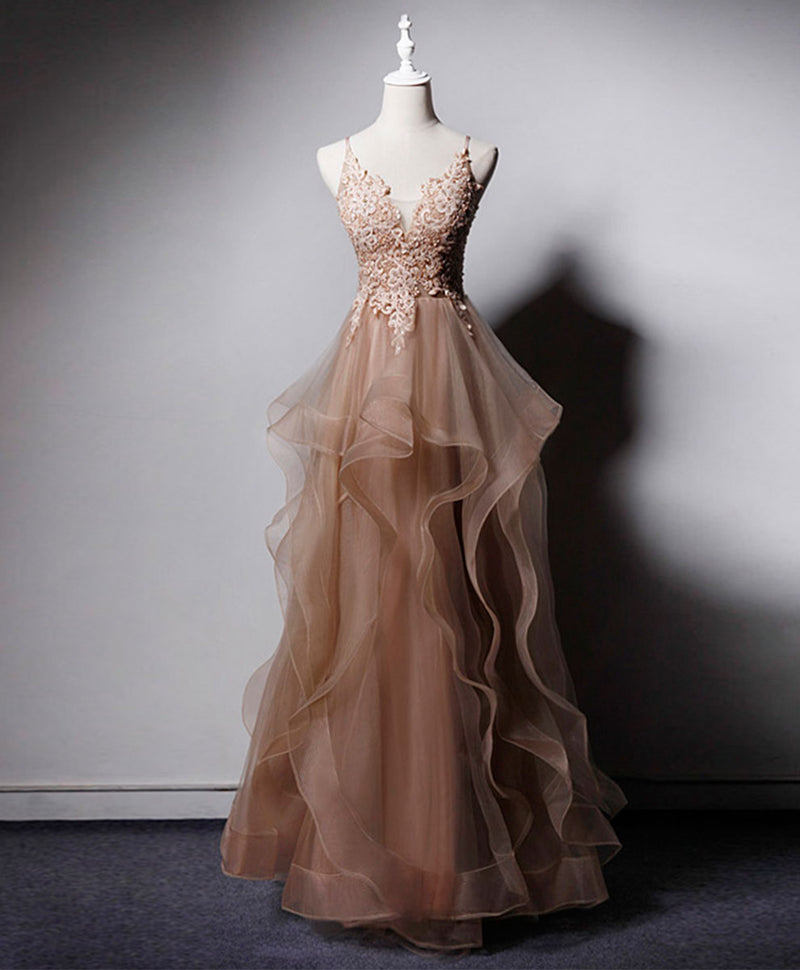 Champagne v neck tulle lace long prom dress champagne evening dress