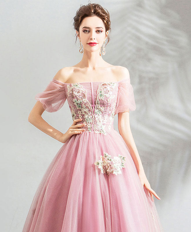 Pink tulle off shoulder lace long prom dress , pink evening dress