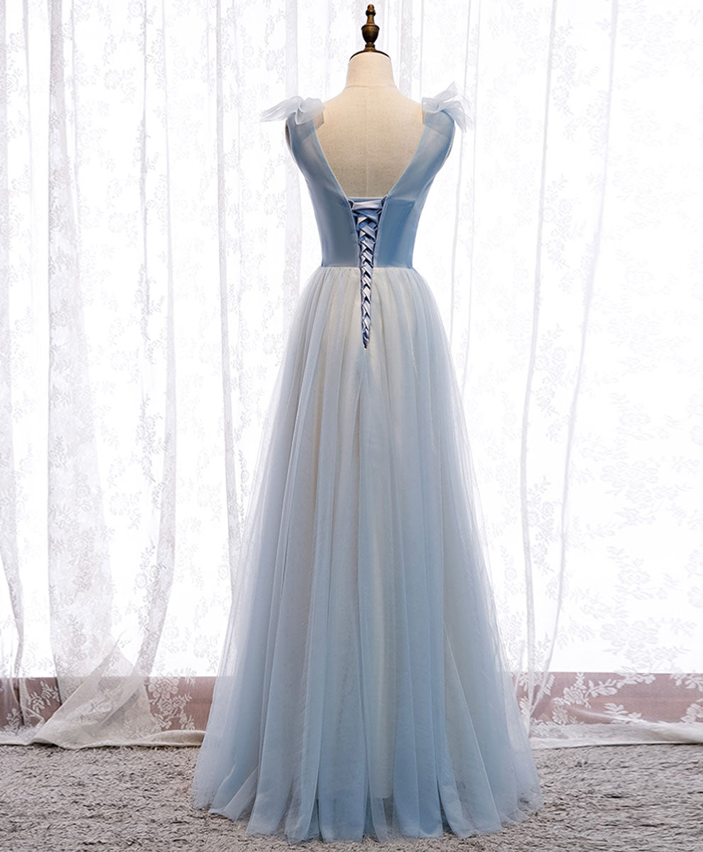 Simple blue v neck tulle long prom dress blue formal dress