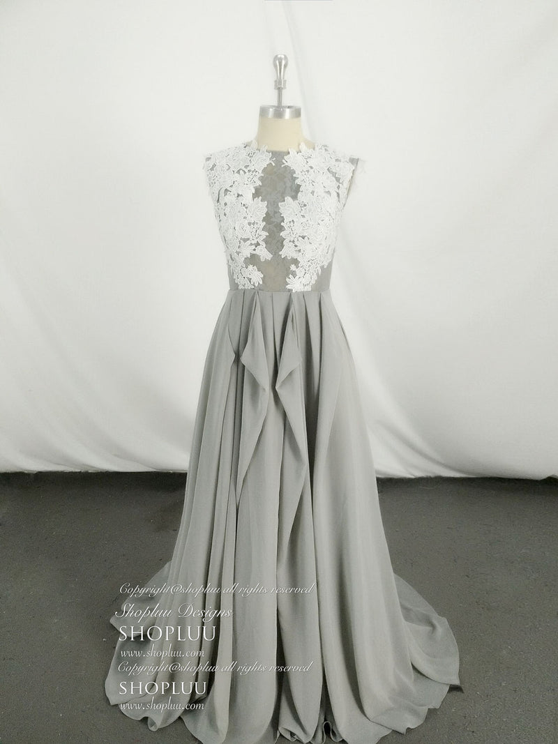 Gray chiffon lace long prom dress. gray evening dress
