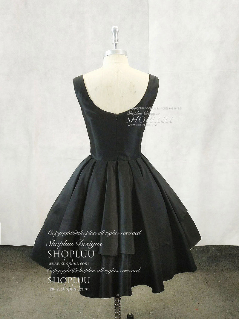 Simple v neck black short prom dress, black homecoming dress