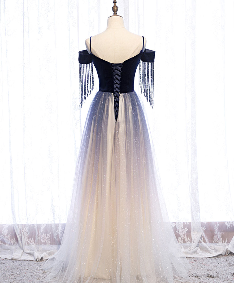 Blue tulle long prom dress blue tulle formal dress