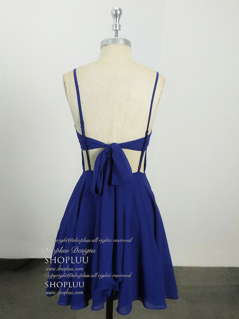 Simple blue chiffon short prom dress, blue homecoming dress