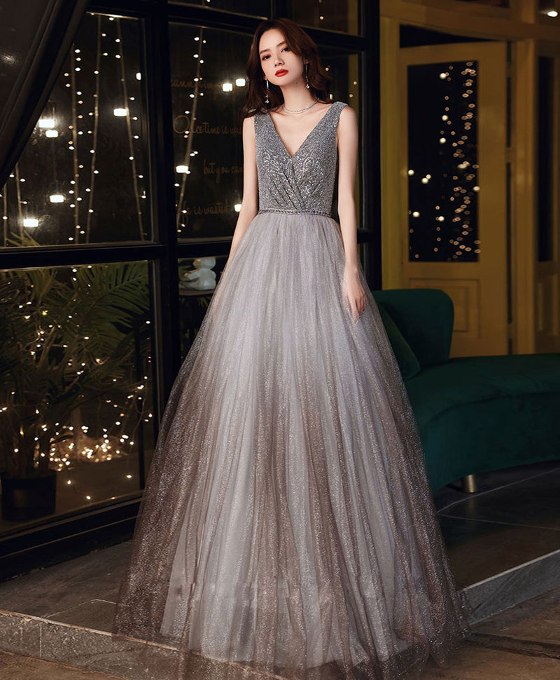 Gray tulle v neck sequin long prom dress gray formal dress