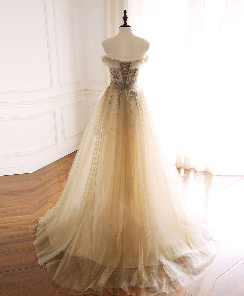 Champagne tulle sequin beads long prom dress tulle formal dress