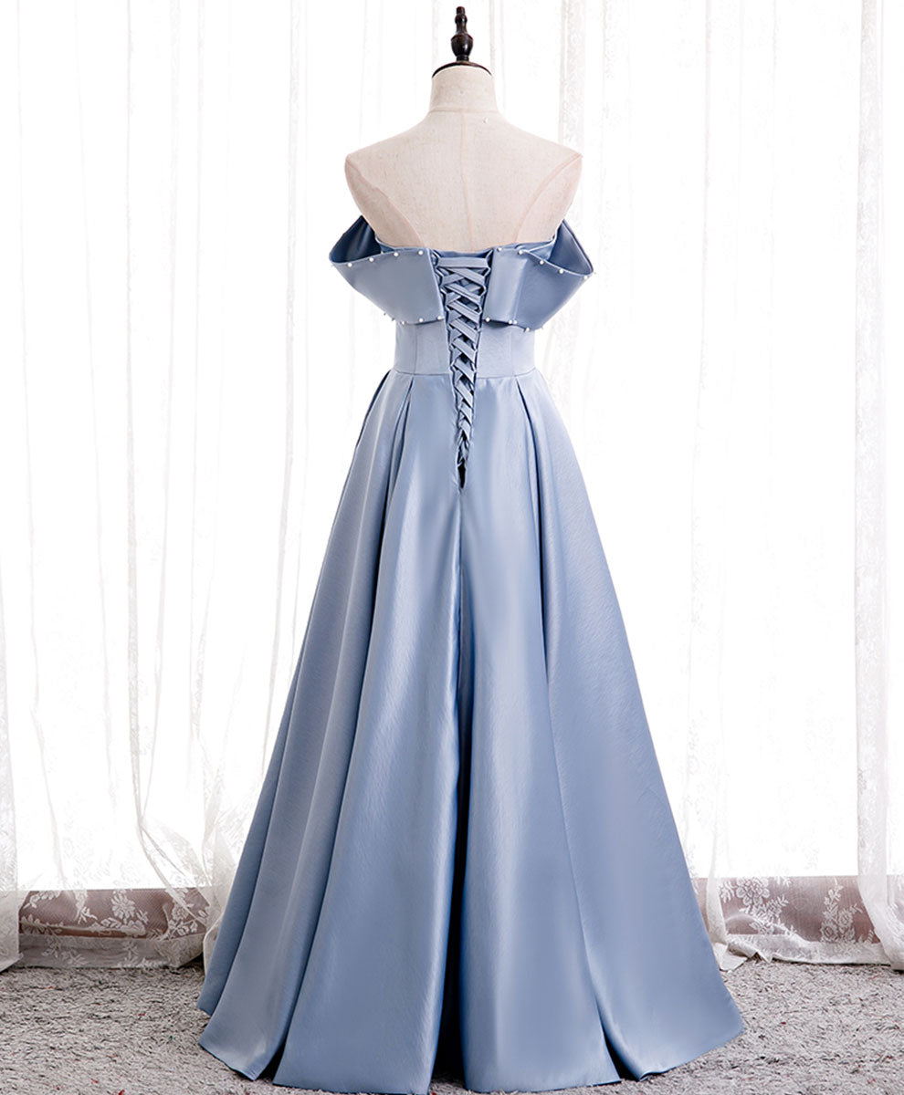 Simple blue off shoulder satin long prom dress blue bridesmaid dress