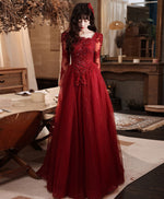 Burgundy tulle lace long prom dress burgundy tulle lace evening dress