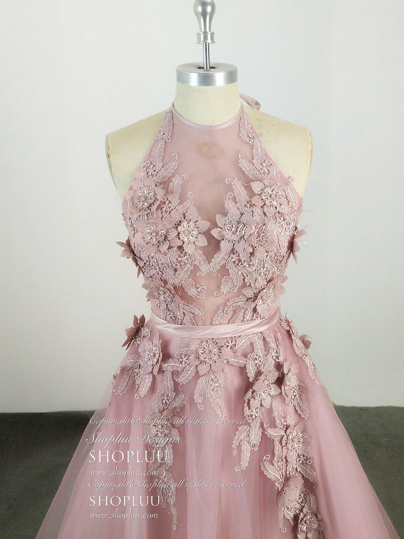 Pink high neck tulle lace applique long prom dress, pink evening dress