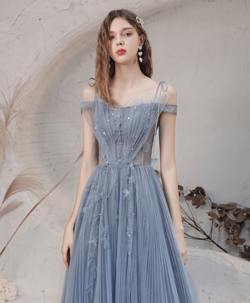 Blue tulle lace off shoulder long prom dress blue formal dress
