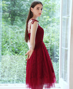 Burgundy round neck tulle lace short prom dress burgundy cocktail dress