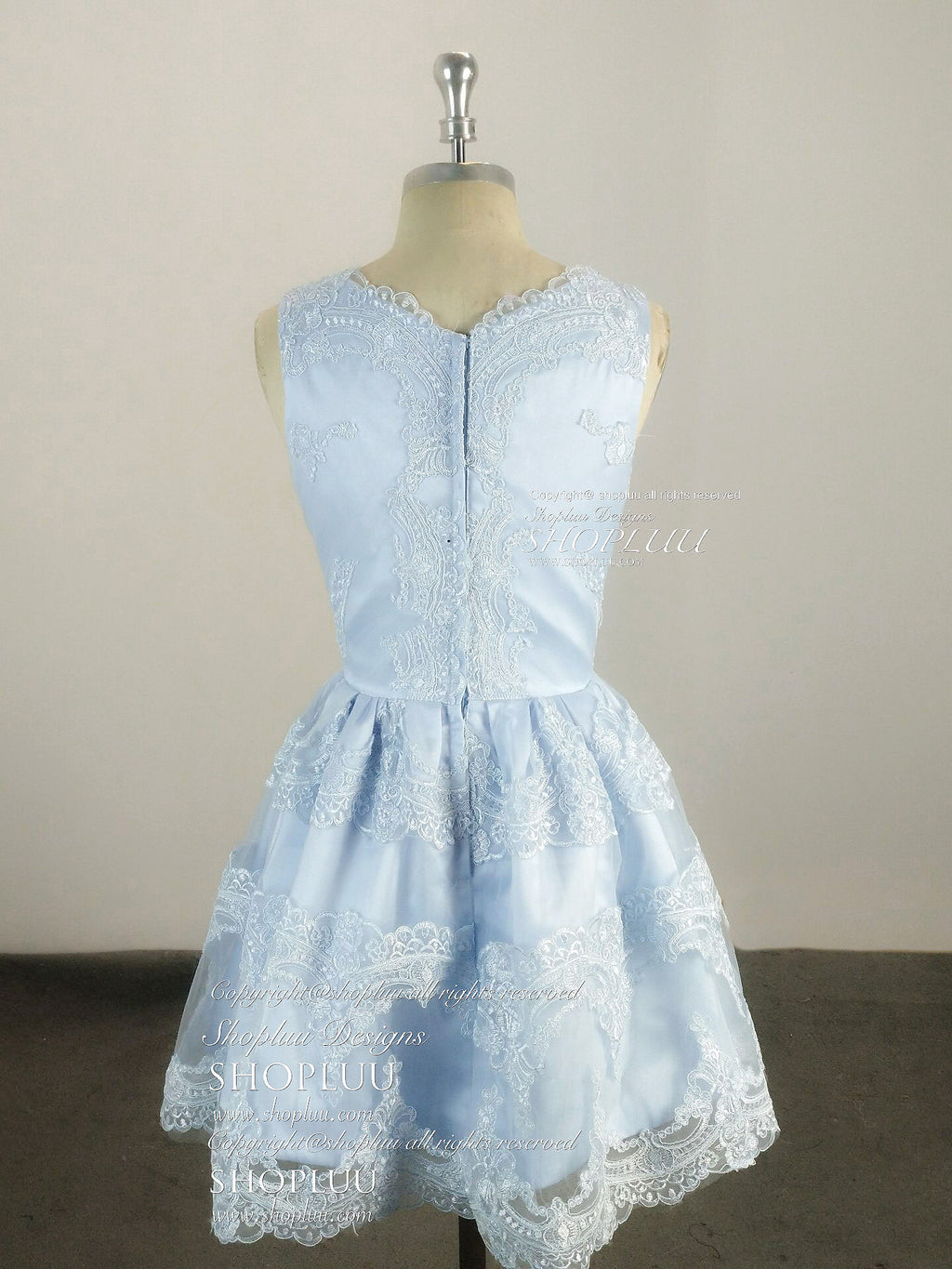 Cute v neck lace short prom dress, blue homecoming dress