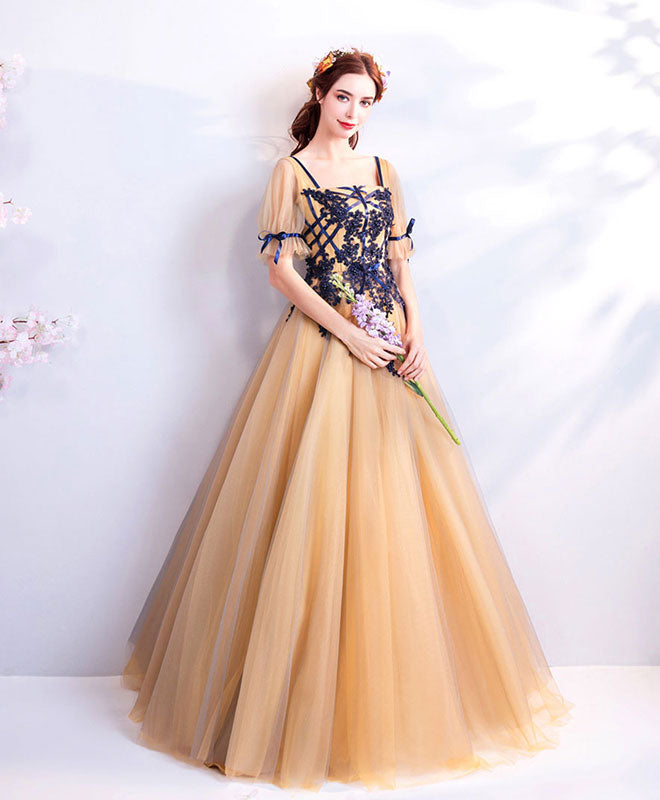 Unique champagne lace tulle long prom dress, champagne tulle evening dress