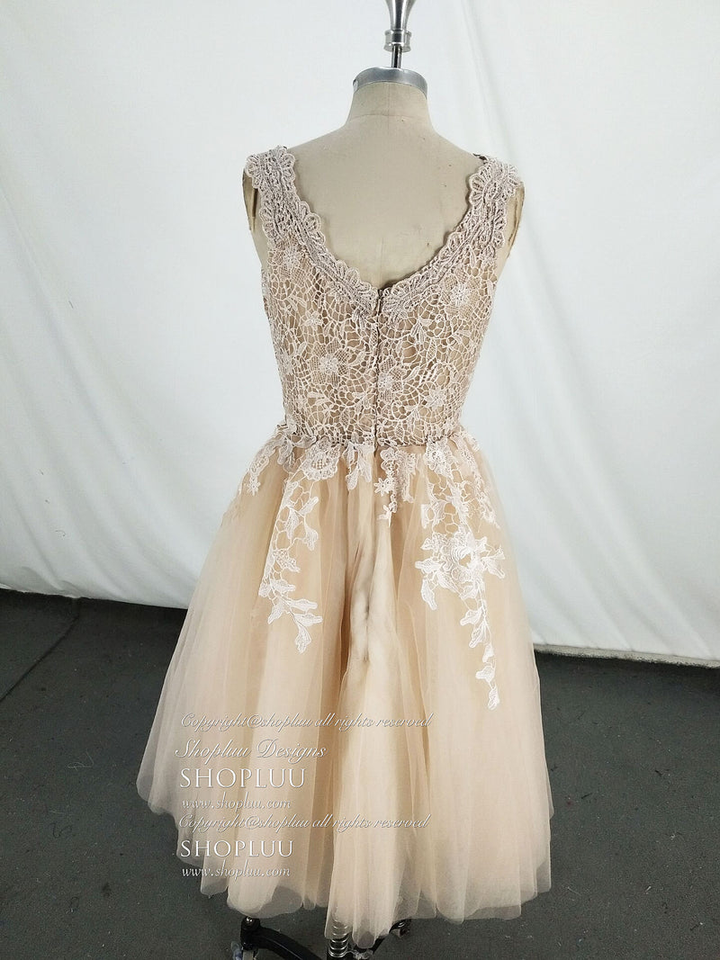 Champagne tulle lace short prom dress, tulle lace homecoming dress