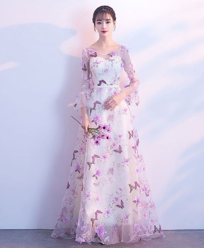 Unique tulle purple long prom dress, tulle purple evening dress