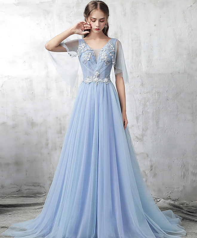 Blue v neck tulle lace applique long prom dress, blue evening dress