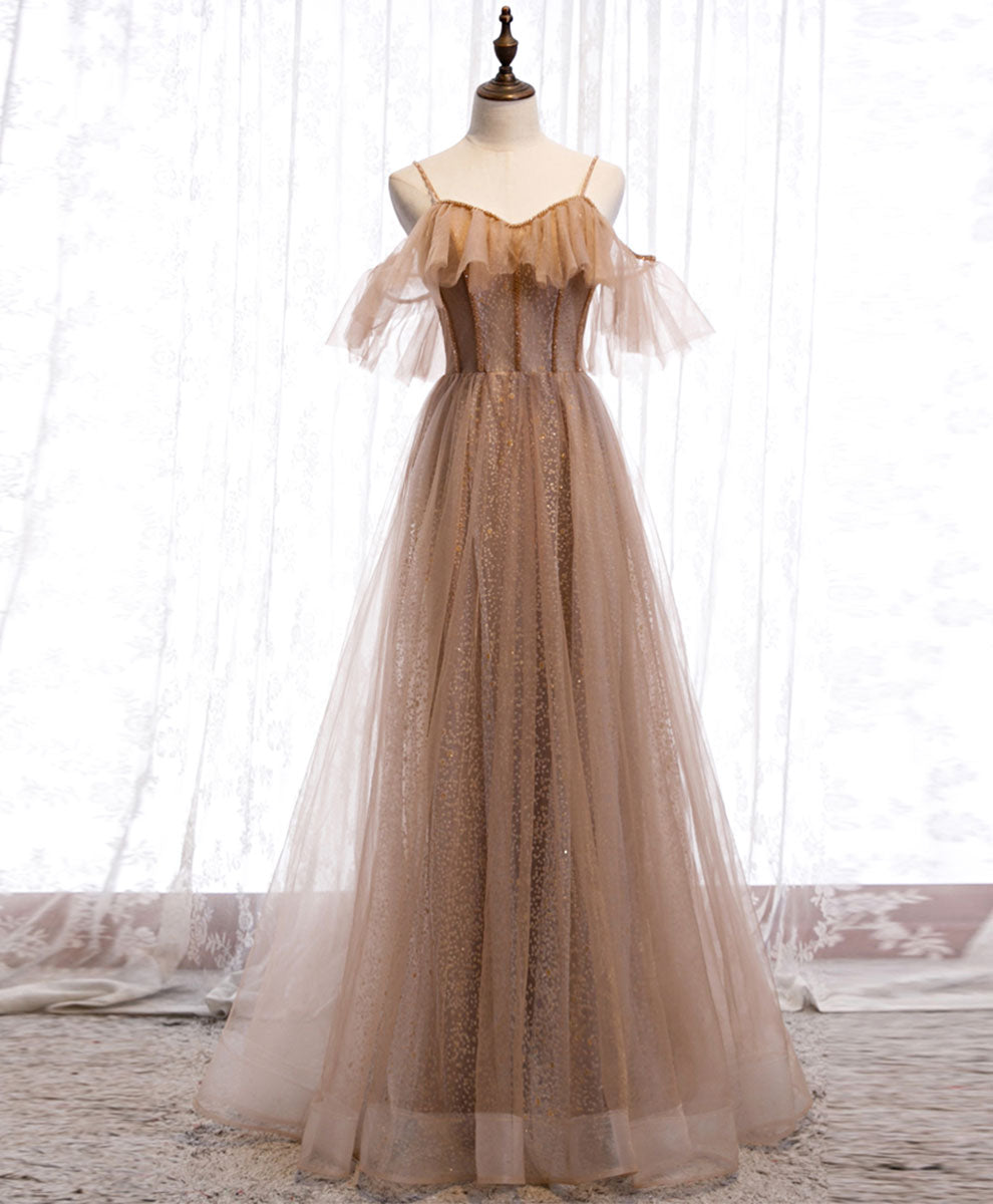 Champagne tulle sequin long prom dress champagne evening dress