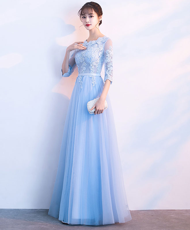 Blue tulle lace long prom dress, blue tulle lace bridesmaid dress