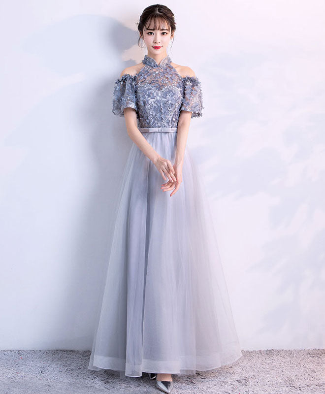Unique gray tulle applique long prom dress, gray tulle evening dress