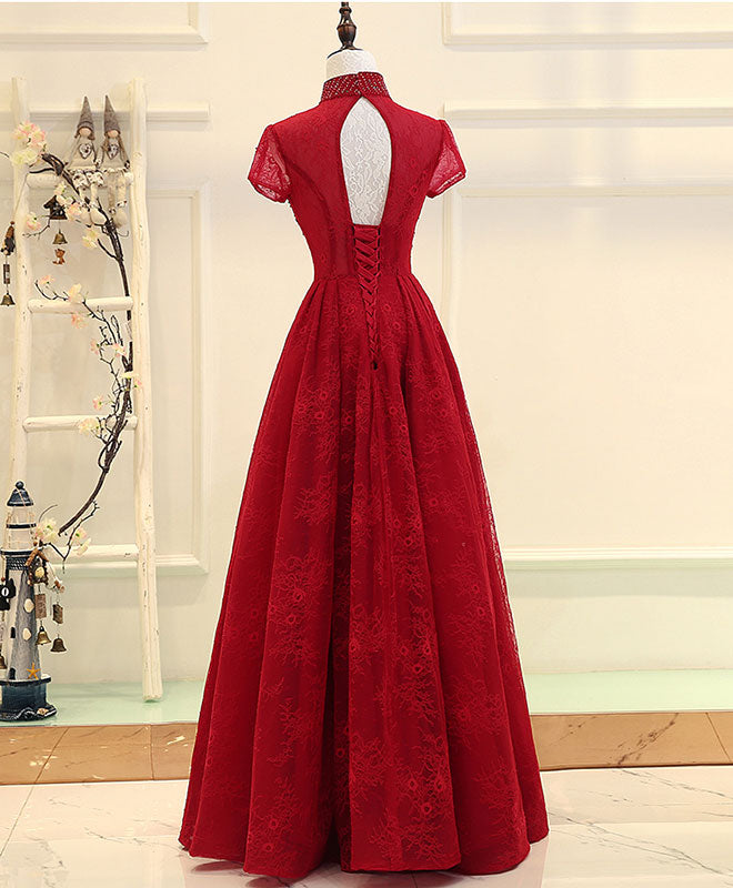 Burgundy high low lace long prom dress, burgundy evening dress