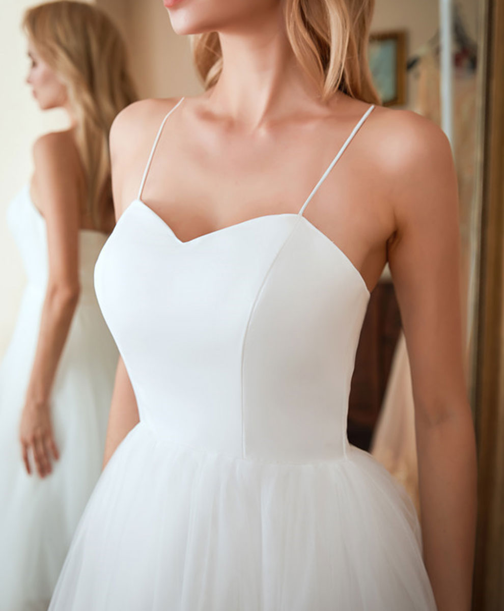 White sweetheart neck tulle short prom dress white cocktail dress