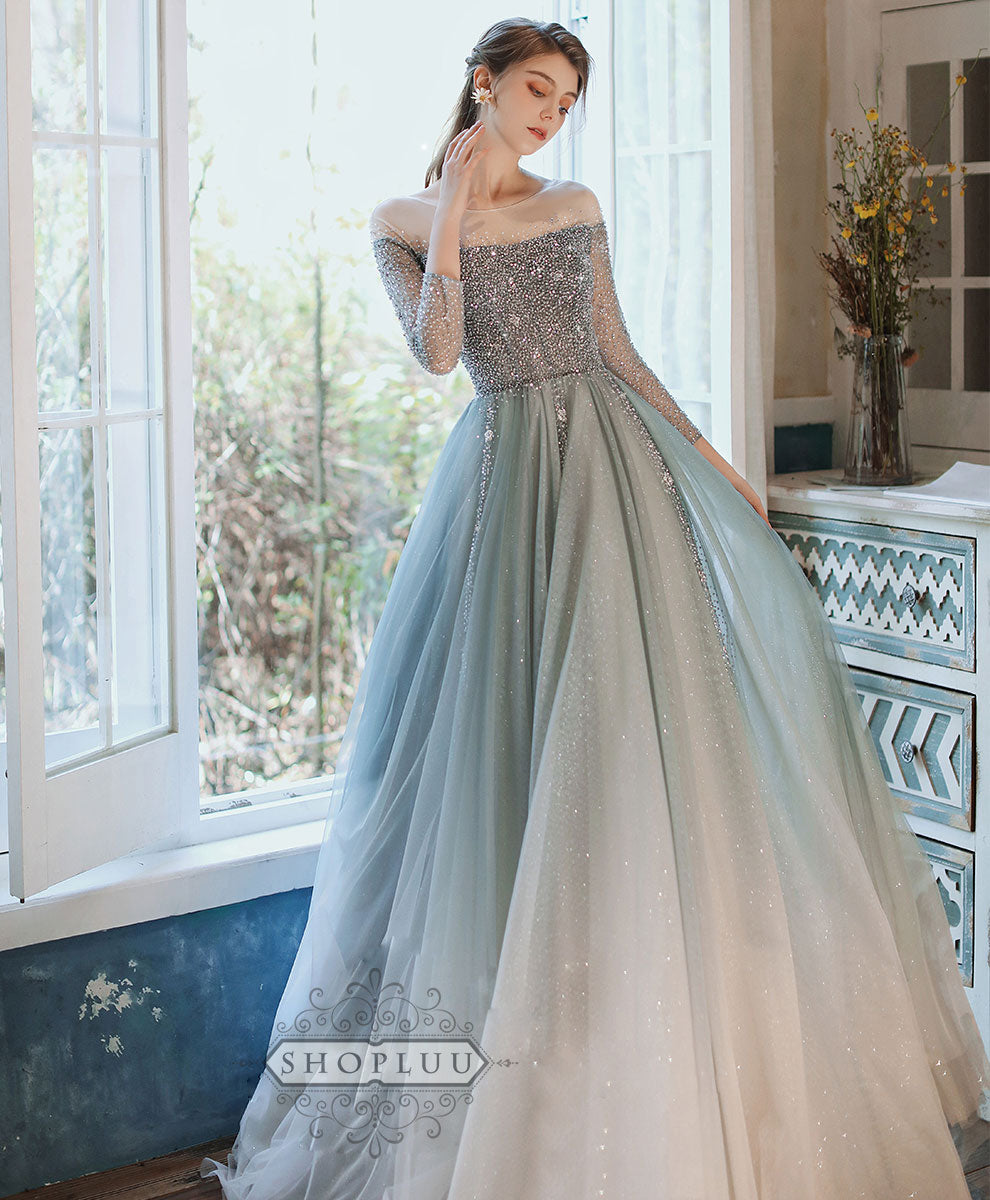 Unique tulle sequin long prom dress tulle formal dress