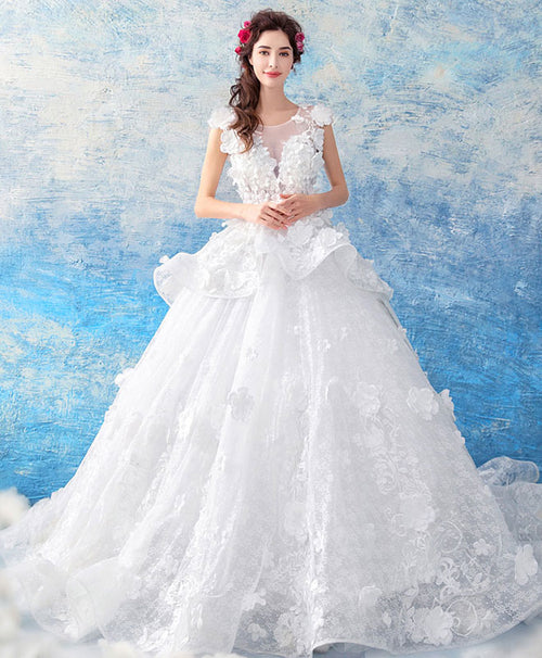 White round neck lace long wedding gown, lace wedding dress