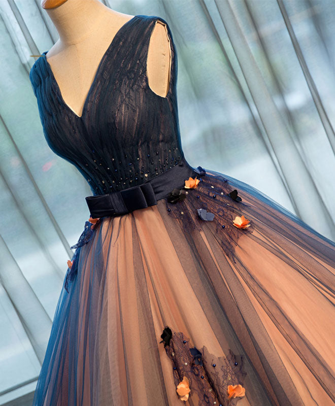 Dark blue tulle v neck long prom gown, tulle evening gown