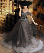 Gray v neck tulle lace long prom dress, gray tulle evening dress