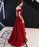 Burgundy tulle lace long prom dress, burgundy tulle bridesmaid dress