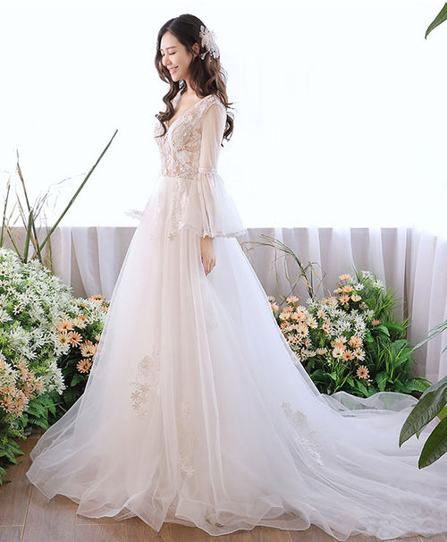 White v neck tulle lace long prom dress, white evening dress