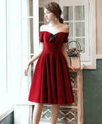 Simple burgundy short prom dress burgundy cocktail dress