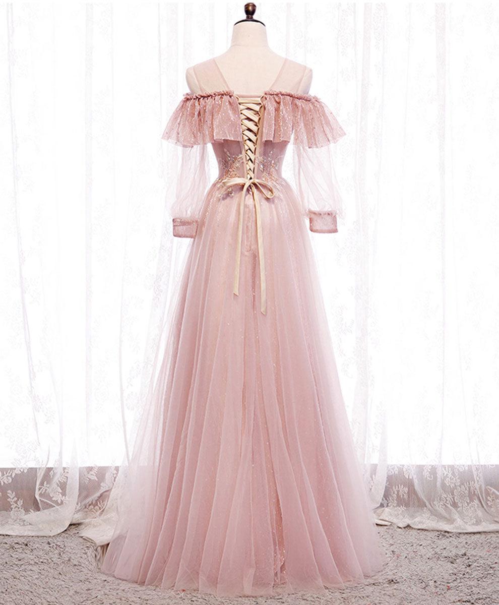 Pink round neck tulle lace long prom dress pink lace evening dress