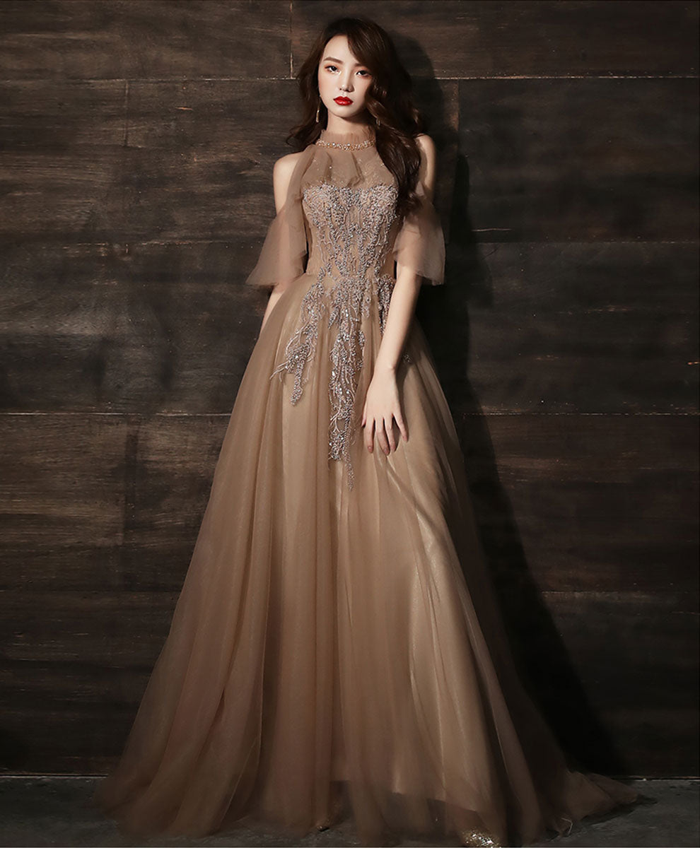 Champagne high neck tulle lace long prom dress formal dress