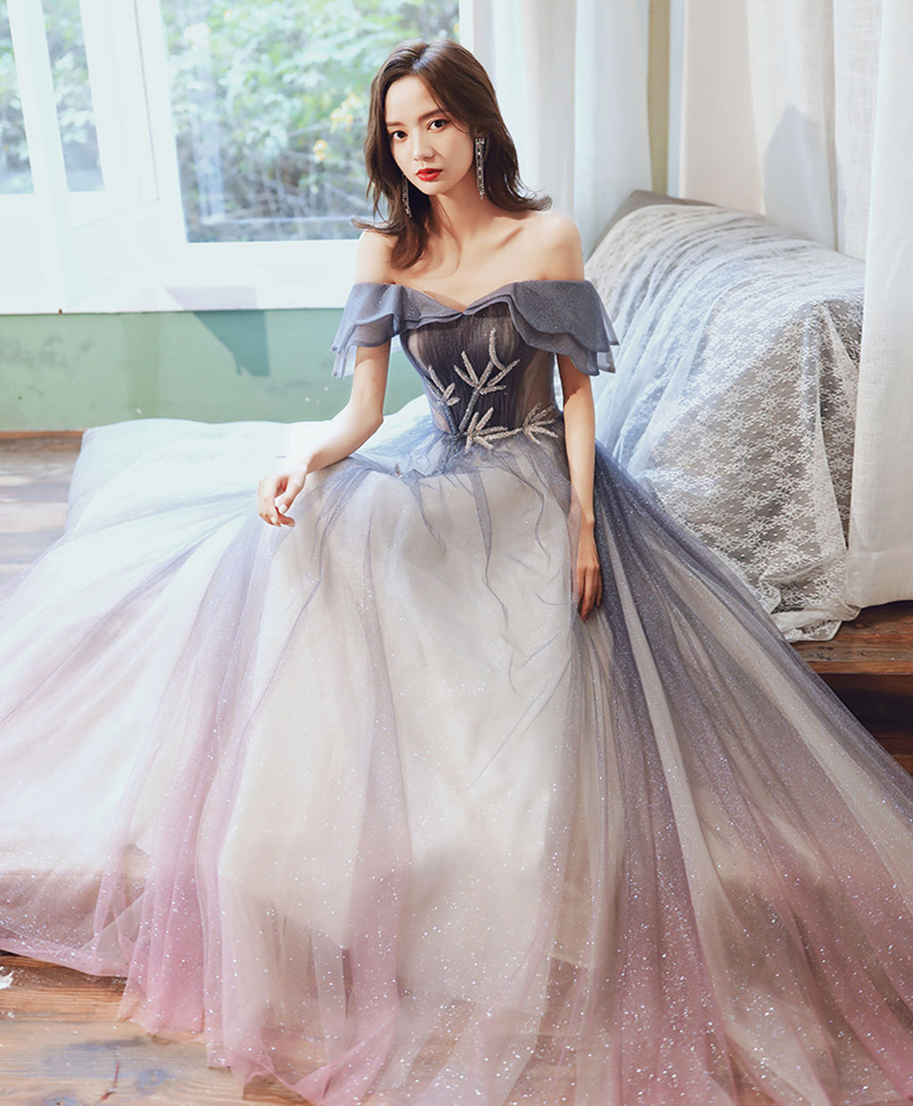 Simple tulle off shoulder long prom dress blue tulle evening dress