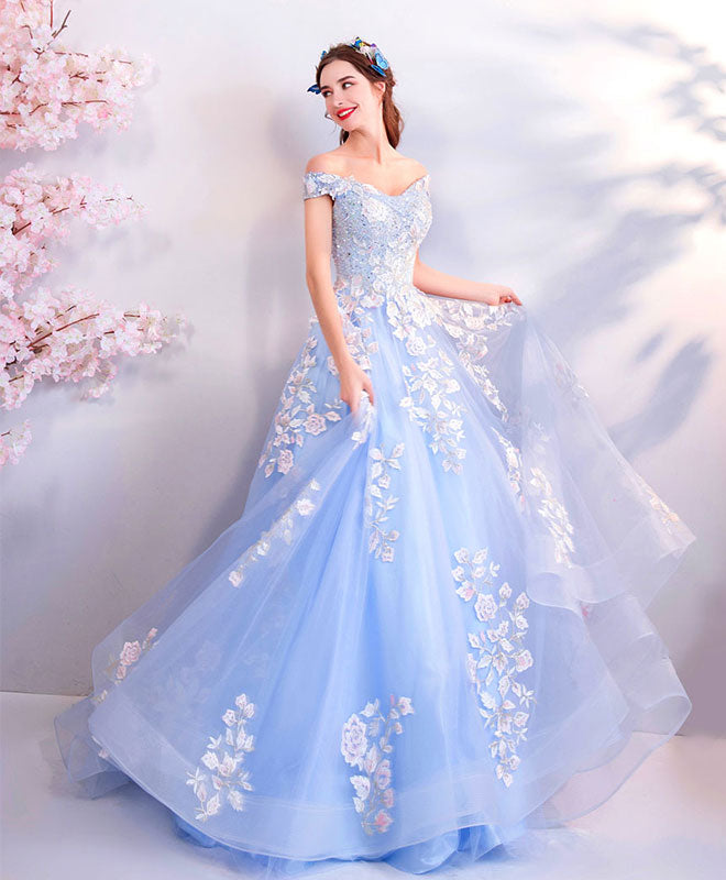 Blue off shoulder tulle lace applique long prom dress, blue evening dress