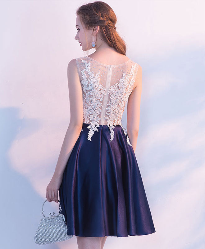 Navy blue round neck lace short prom dress, homecoming dress