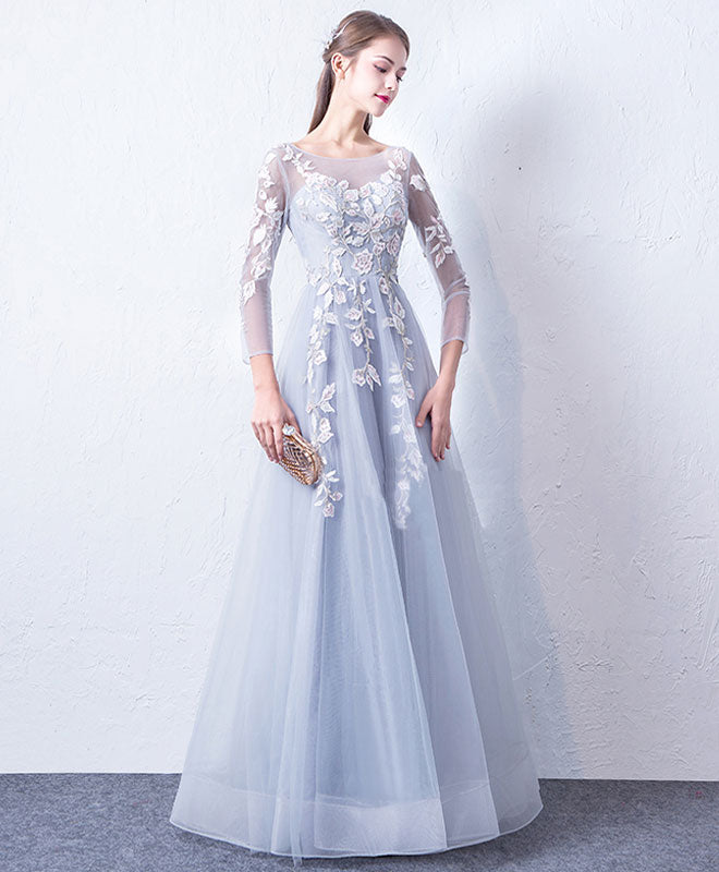 21f8727b72e Gray blue cute round neck lace applique tulle long prom dress