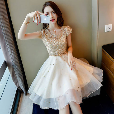 Lovely white lace short dress, fashion girl dress, party dress