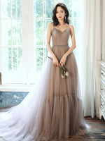 Simple gray v neck tulle long prom dress gray formal dress