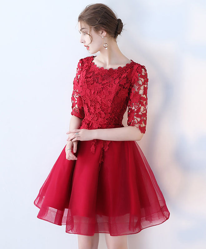 Burgundy lace tulle short prom dress, burgundy homecoming dress