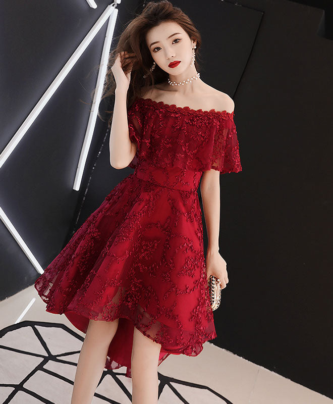 Burgundy tulle lace short prom dress burgundy homecoming dress