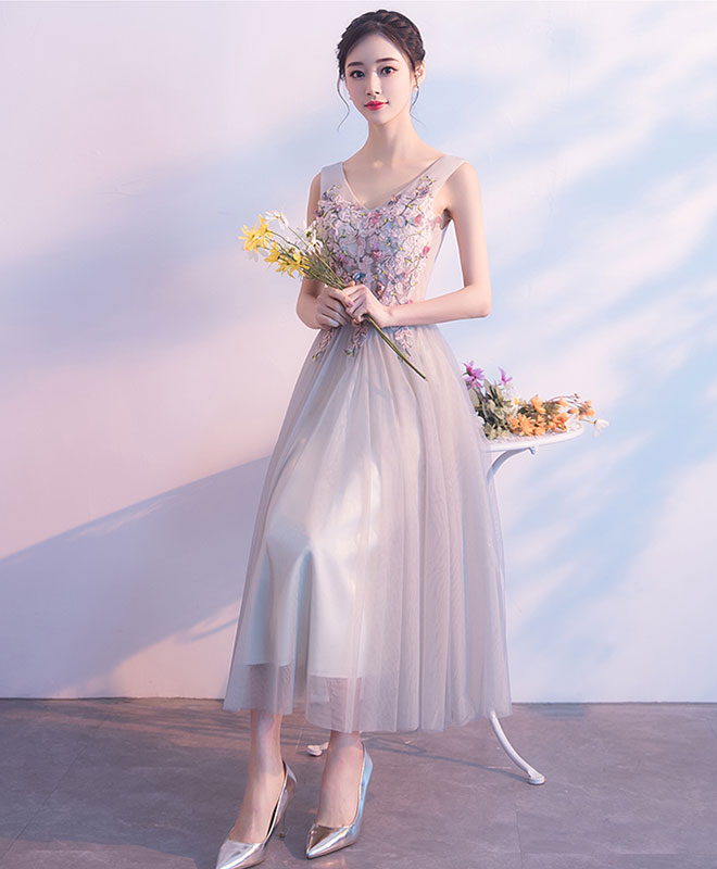 Gray v neck tulle lace prom dress, lace tulle evening dress