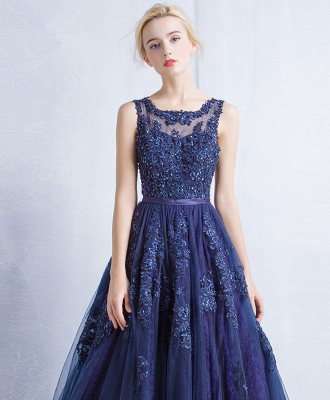 Dark blue round neck tulle lace applique long prom dress