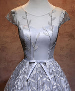 Gray round neck lace short prom dress, homecoming dress